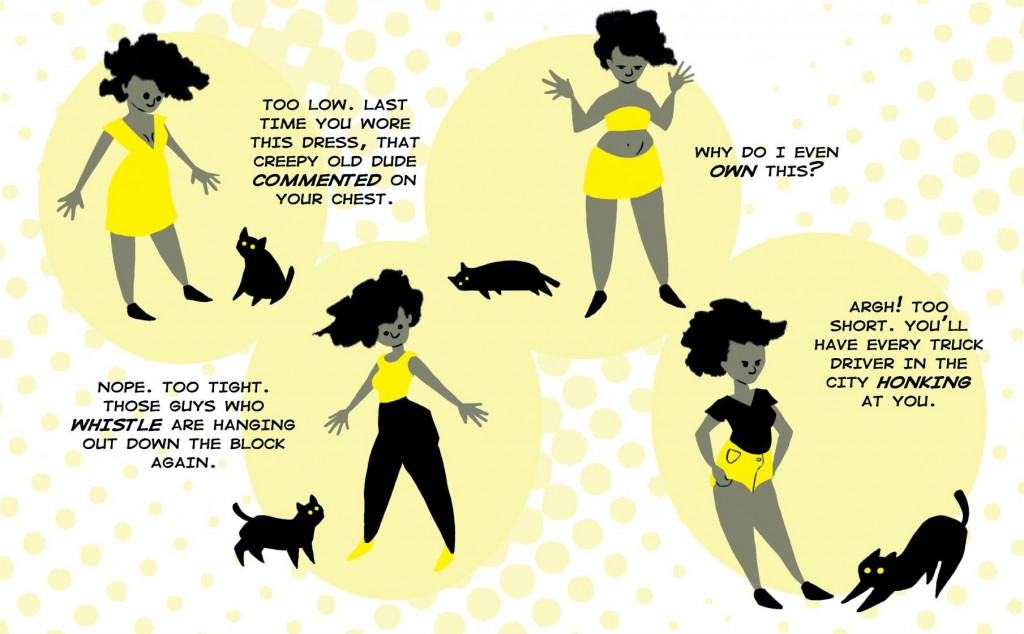 In this detail from the comic, Yellow goes through the decision-making process many women go through daily.