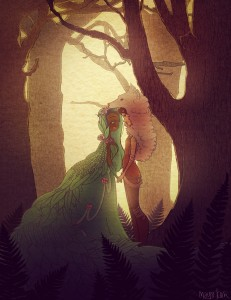 The influence of shoujo comics and fairy tales on Maya Kern's style is recognizable in her depiction of the Girl, focusing on a swamp princess and her girlfriend.