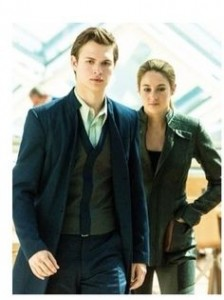 "Ansel Elgort (Caleb) and Woodley (Tris) in ""Divergent"""